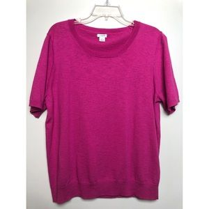 J. Crew Pink Short Sleeve Pullover Knit Sweater